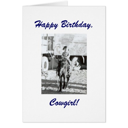 Cute Little Vintage Cowgirl & Pony Birthday Wishes