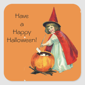 Cute Little Vintage Witch on Orange Halloween Square Sticker