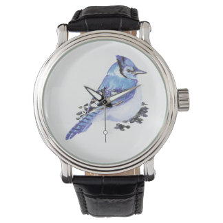 Cute Little Watercolor Blue Jay Bird Nature Art Watch