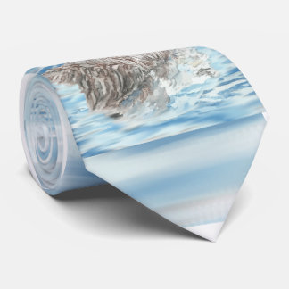 Cute Little Watercolor Otter Napping Blue Water Tie