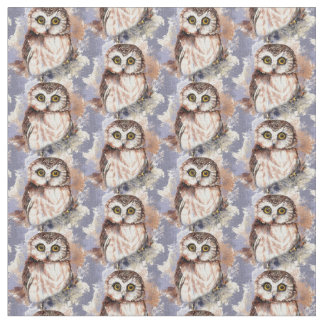 Cute Little Watercolor Owl Bird Nature art Fabric