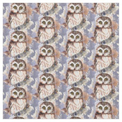 Cute Little Watercolor Owl Bird Nature art Fabric