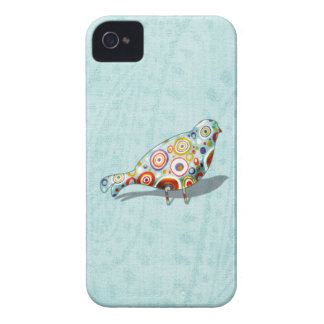 Cute Little Whimsical Bird on Paisley iPhone 4 Case-Mate Cases