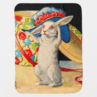 cute little white bunny wearing big hat baby blanket