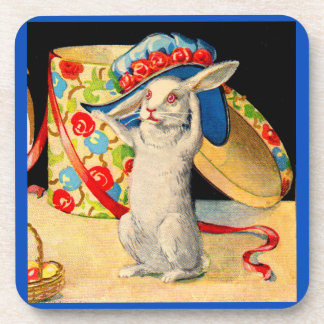 cute little white bunny wearing big hat coaster