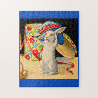 cute little white bunny wearing big hat jigsaw puzzle
