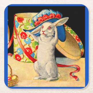cute little white bunny wearing big hat square paper coaster