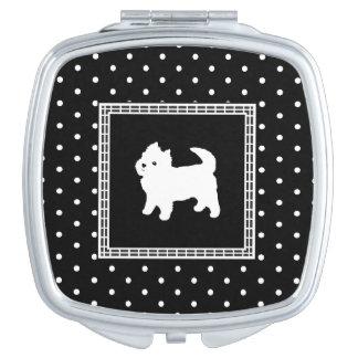 Cute Little White Dog - Polka Dot Background Travel Mirror