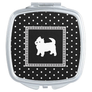 Cute Little White Dog - Polka Dot Background Travel Mirror