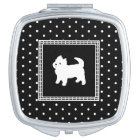Cute Little White Dog - Polka Dot Background Vanity Mirror