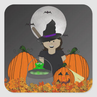 Cute little Witch Halloween Stickers
