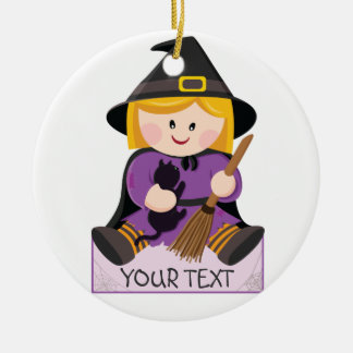 Cute little witch with blond hair christmas ornament