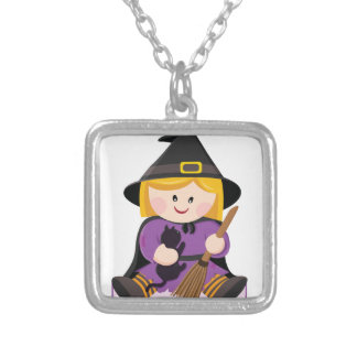 Cute little witch with blond hair square pendant necklace