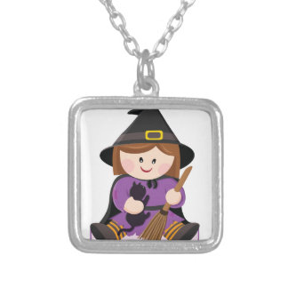 Cute little witch with broewn hair square pendant necklace