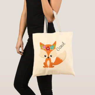 Cute Little Woodland Fox Personalized Tote Bag