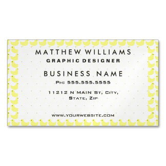 Cute Little Yellow Duckies Pattern Magnetic Business Card