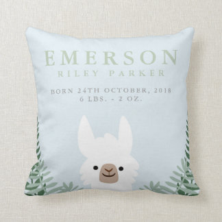 Cute Llama Birth Announcement Stats Nursery Pillow