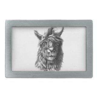 Cute Llama portrait Belt Buckles
