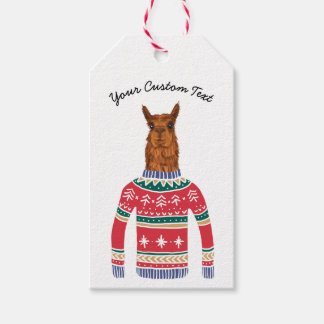 Cute Llama Wearing Funny Ugly Christmas Sweater, Gift Tags
