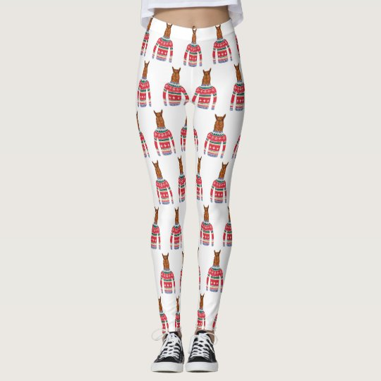 Cute Llama wearing Funny Ugly Christmas Sweater Leggings