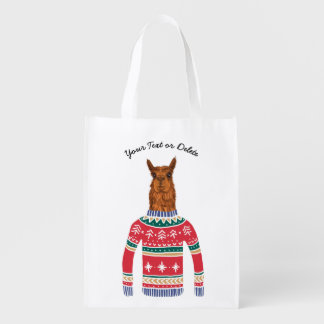 Cute Llama Wearing Funny Ugly Christmas Sweater Reusable Grocery Bag