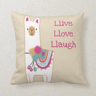 Cute llama with custom background color cushion