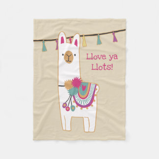 Cute llama with custom background color fleece blanket