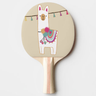 Cute llama with custom background color ping pong paddle