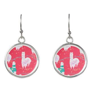 Cute llamas Peru illustration red background Earrings