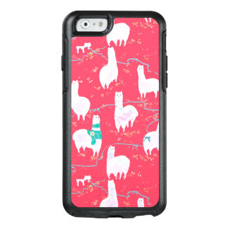 Cute llamas Peru illustration red background OtterBox iPhone 6/6s Case