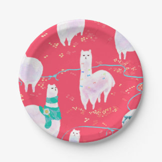 Cute llamas Peru illustration red background Paper Plate