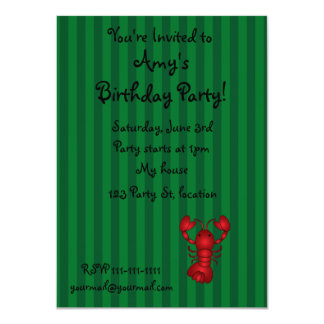 Cute lobster green stripes 11 cm x 16 cm invitation card