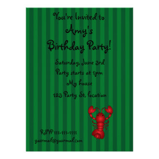 Cute lobster green stripes personalized announcement