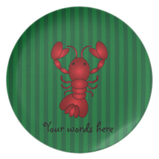 Cute lobster green stripes party plate