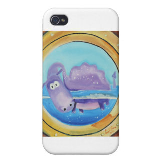 Cute Loch Ness monster looking through port hole Cover For iPhone 4