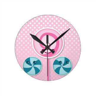 Cute lollies round clocks