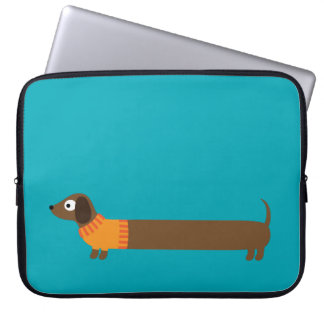 Cute Long Dachshund Illustration Laptop Sleeve