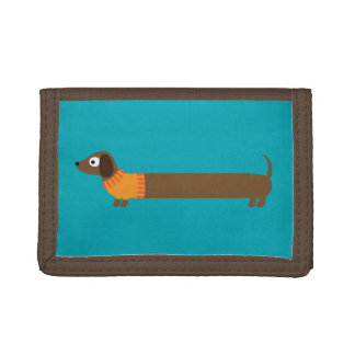 Cute Long Dachshund Illustration Trifold Wallet