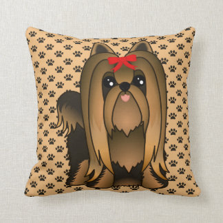 Cute Long Hair Yorkshire Terrier Puppy Dog Cushion
