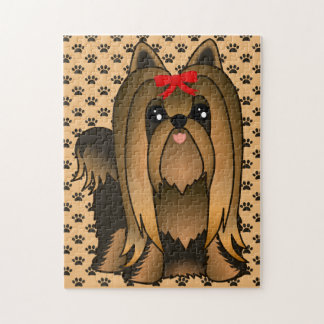Cute Long Hair Yorkshire Terrier Puppy Dog Jigsaw Puzzle