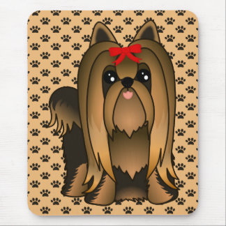 Cute Long Hair Yorkshire Terrier Puppy Dog Mouse Mat