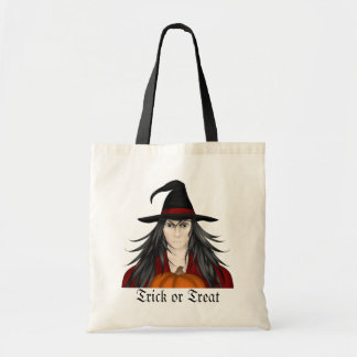 Cute long haired cartoon Halloween wizard Budget Tote Bag