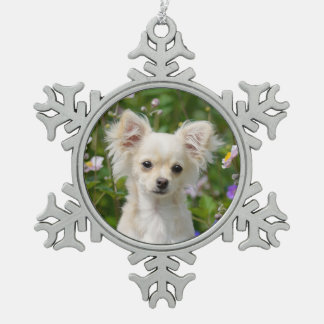 Cute long-haired cream Chihuahua Dog Puppy Photo * Snowflake Pewter Christmas Ornament