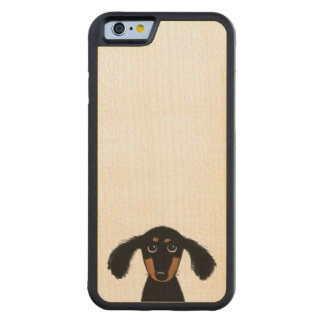 Cute Long Haired Dachshund Puppy Carved Maple iPhone 6 Bumper Case