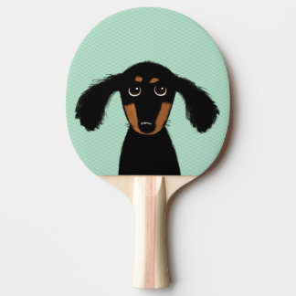 Cute Long Haired Dachshund Puppy Ping Pong Paddle