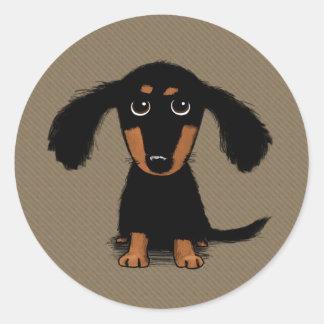 Cute Long Haired Dachshund Puppy Round Sticker