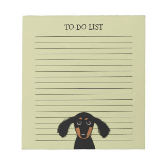 Cute Long Haired Dachshund Puppy with Text Memo Notepad