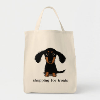 Cute Long Haired Dachshund Puppy with Text Tote Bag