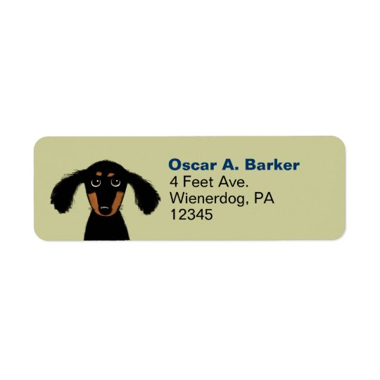 Cute Long Haired Dachshund Return Address Return Address Label
