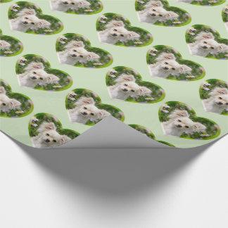 Cute longhair cream Chihuahua Dog Puppy Photo - Wrapping Paper